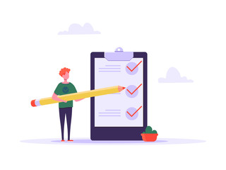 Concept of time managment, checklist, business tasks. Positive business man with a giant pencil beside to a checklist marked on paper on the clipboard. Vector illustration of flat cartoon design