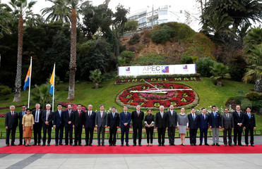 Ministers Responsible for Trade (MRT) of APEC, pose for a family picture during a meeting ahead of November Presidential summit in Vina del Mar