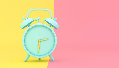 stylized alarm clock on a yellow and pink background Fotoväggar