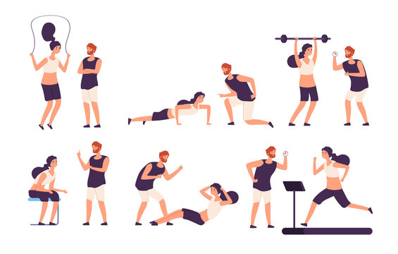 Fitness trainer. Male personal coach helps woman training, fit girl exercising with gym instructor isolated vector set. Illustration of coach training, exercise in gym, fitness sport