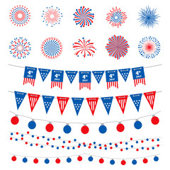 American flag color banners, garlands and fireworks vector collection. Happy Independence Day, 4th July, american holidays design elements isolated on white background. Usa celebration fireworks