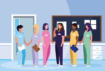 group of doctors females in hospital