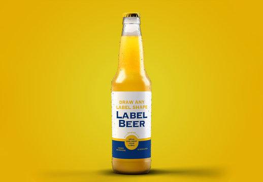 Clear Beer Bottle Packaging Design Mockup