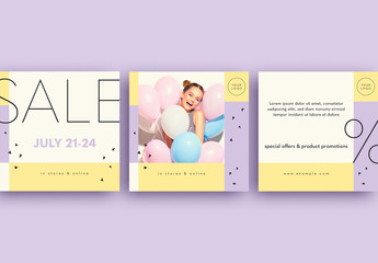 Social Media Post Layouts with Purple and Yellow Accents
