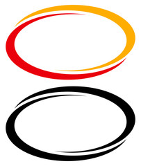 Oval, ellipse banner frames, borders. Duotone and black versions included