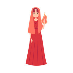 Woman or Hestia Greek Goddess stands holding flame in hand cartoon style