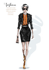 Hand drawn beautiful young woman in leather jacket and skirt. Stylish girl in sunglasses. Fashion woman look. Sketch. Vector illustration.