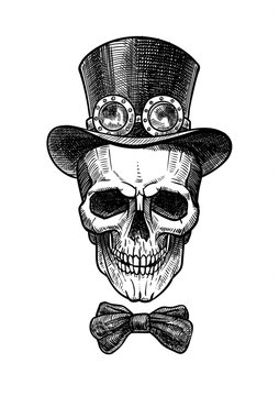 Skull in a hat in the traditional style