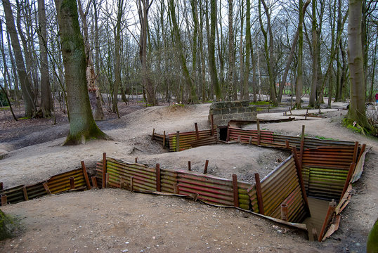 The preserved trenches at Hill 62 Sanctuary Wood on the Western Front near Ypres, Belgium