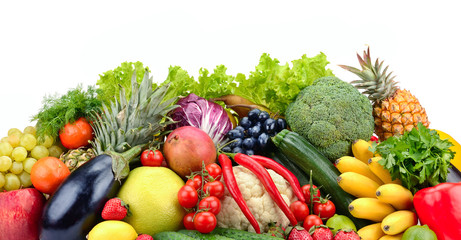 Wall Mural - Useful tasty vegetables, fruits and berries isolated on white background.