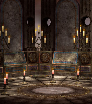 Magic circle room with chandeliers – 3D illustration