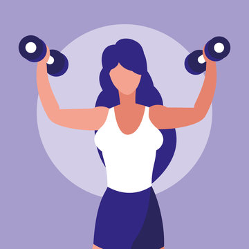 young athletic woman lifting dumbbells