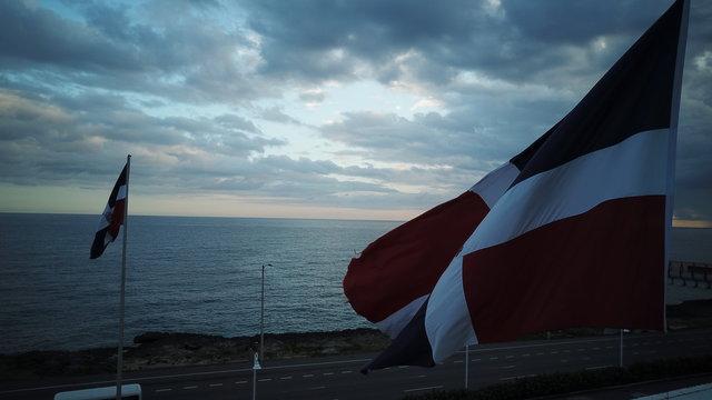 Dominican Flag at autopsist Las Americas