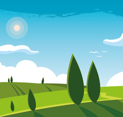 Poster Turquoise landscape nature scene icon
