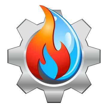 Heizungsinstallation - Zahnrad, Feuer und Wasser - Icon- / Logo-Design