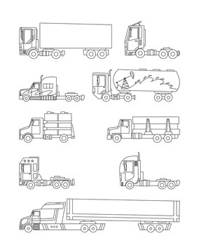 Line sketch. Trucks and trailers on a white background