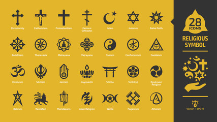 Religious symbol icon set on a yellow background with christian cross, islam crescent and star, judaism star of david, buddhism wheel of dharma, rastafari lion religion glyph sign.