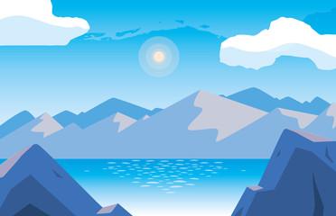 landscape with lake scene icon