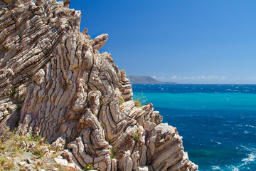 Folded limestone on Crete, Greece, in the background the Lybian sea Wall mural