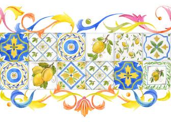 Watercolor ornament square pattern Wall mural