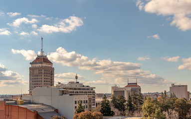 Downtown Fresno Skyline, California, USA, on a spring afternoon.  Wall mural