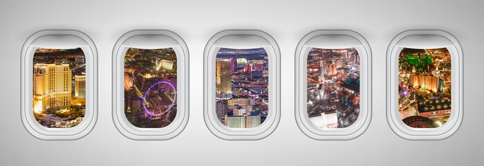 Las Vegas night aerial skyline as seen through five aircraft windows. Holiday and travel concept