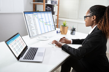 Fototapete - African Businesswoman Analyzing Gantt Chart On Computer