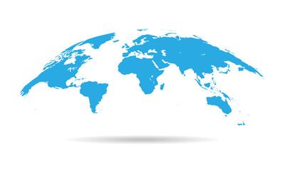 Spoed Foto op Canvas Wereldkaart Globe Curved World Map - Vector