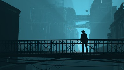 Fotomurales - 3D illustration of a futuristic cityscape in cyberpunk style. Silhouette of a man standing on an iron grating bridge. Gloomy urban landscape
