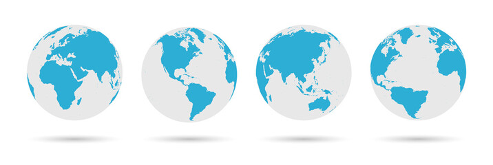 Globe Icon Set - Round World Map Vector Flat