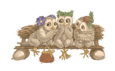 Canvas Prints Owls cartoon owl tea party Animals funny cute nature summer spring shaggy