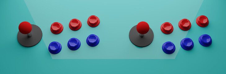 Old style of colorful  arcade machine controls, 3d illustration