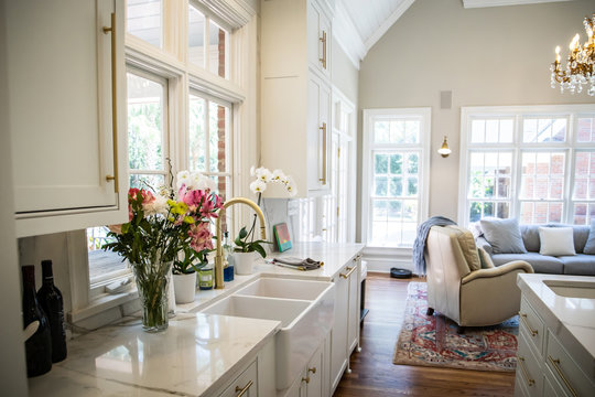 Updated Modern farmhouse Kitchen Ceramic Sink with Marble Countertops