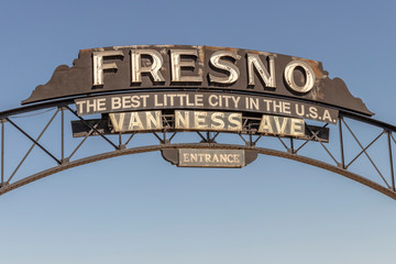 "Van Ness Avenue Entrance to Downtown Fresno, California, USA. ""The Best Little City in the U.S.A."""