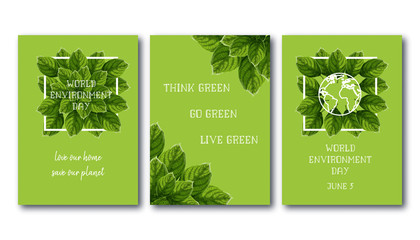 World Environment Day posters set with green leaves, white frame, planet globe and slogan text.