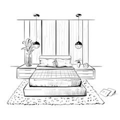 Bedrom. Interior sketch illustration.