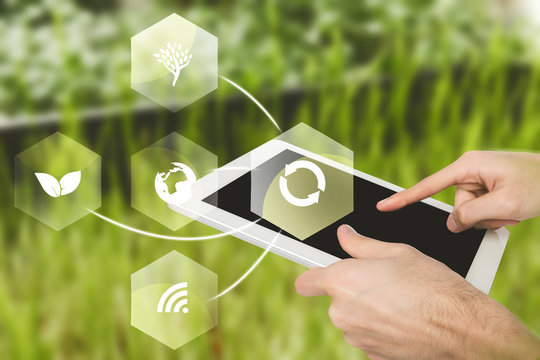 Virtual icons of agricultural mobile app and tablet computer