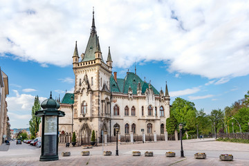 View of neo-gothic Jakab palace with emerald green roof in Old town in Kosice (SLOVAKIA)