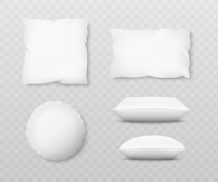 Set of realistic white pillow mockups with 3d shadow effect