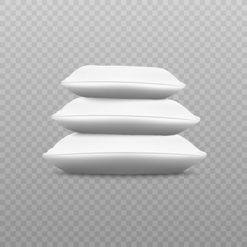 White pillow stack from side view