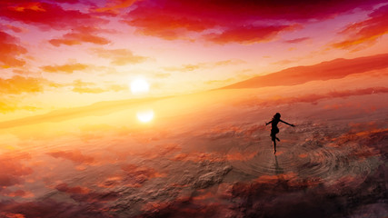 concept art of majestic sea and deep cloudy sky with fantasy female figure