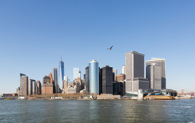 The skyline of New York City's Manhattan Island, and Hudson River from the Staten Island Ferry
