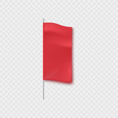 Blank red textile vertical advertising banner standing on a pillar or pole mockup