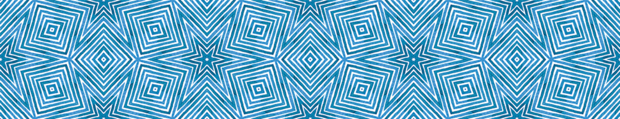 Photo sur Aluminium Style Boho Blue Seamless Border Scroll. Geometric Watercolor