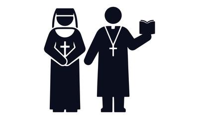 Nun and Priest Icon Square Button Set vector design