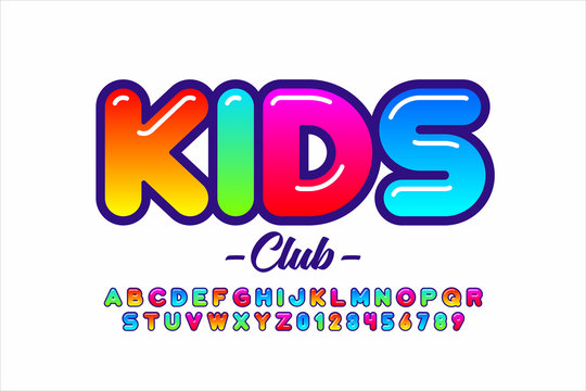 Colorful kids style font, alphabet letters and numbers