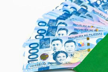 Philippine 1000 peso bill, Philippines money currency, Philippine money bills background.