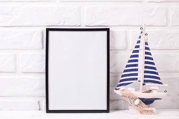 Empty  black frame mockup and  marine decorations