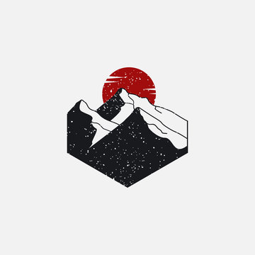 Sun and mountain logo vector element, hand drawn and grungy style