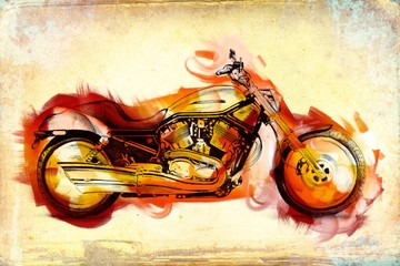 Motor cycle llustration color isolated art